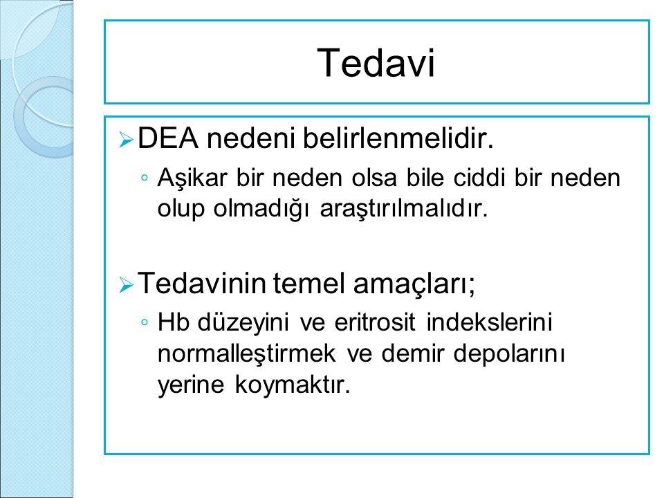 Tedavi  DEA nedeni belirlenmelidir. ◦ Aşikar bir neden olsa bile ciddi bir neden olup olmadığı araştırılmalıdır.  Tedavinin temel amaçları; ◦ Hb düz