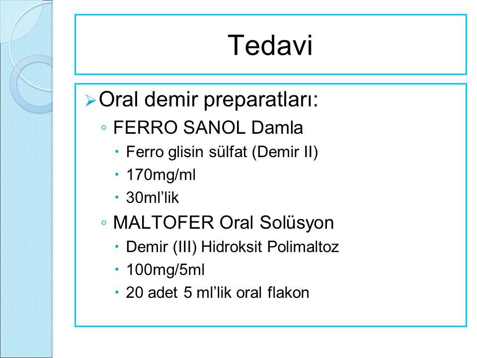  Oral demir preparatları: ◦ FERRO SANOL Damla  Ferro glisin sülfat (Demir II)  170mg/ml  30ml'lik ◦ MALTOFER Oral Solüsyon  Demir (III) Hidroksit