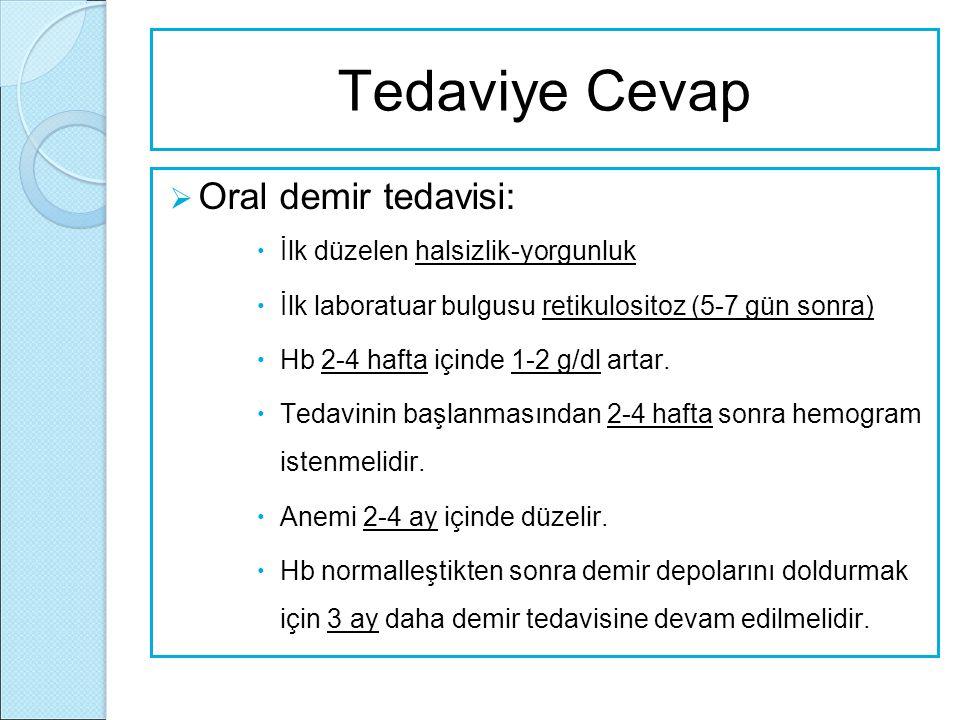 Tedaviye Cevap  Oral demir tedavisi:  İlk düzelen halsizlik-yorgunluk  İlk laboratuar bulgusu retikulositoz (5-7 gün sonra)  Hb 2-4 hafta içinde 1