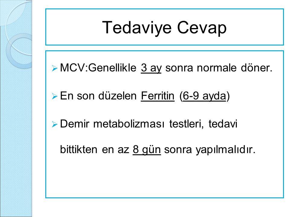 Tedaviye Cevap  MCV:Genellikle 3 ay sonra normale döner.  En son düzelen Ferritin (6-9 ayda)  Demir metabolizması testleri, tedavi bittikten en az