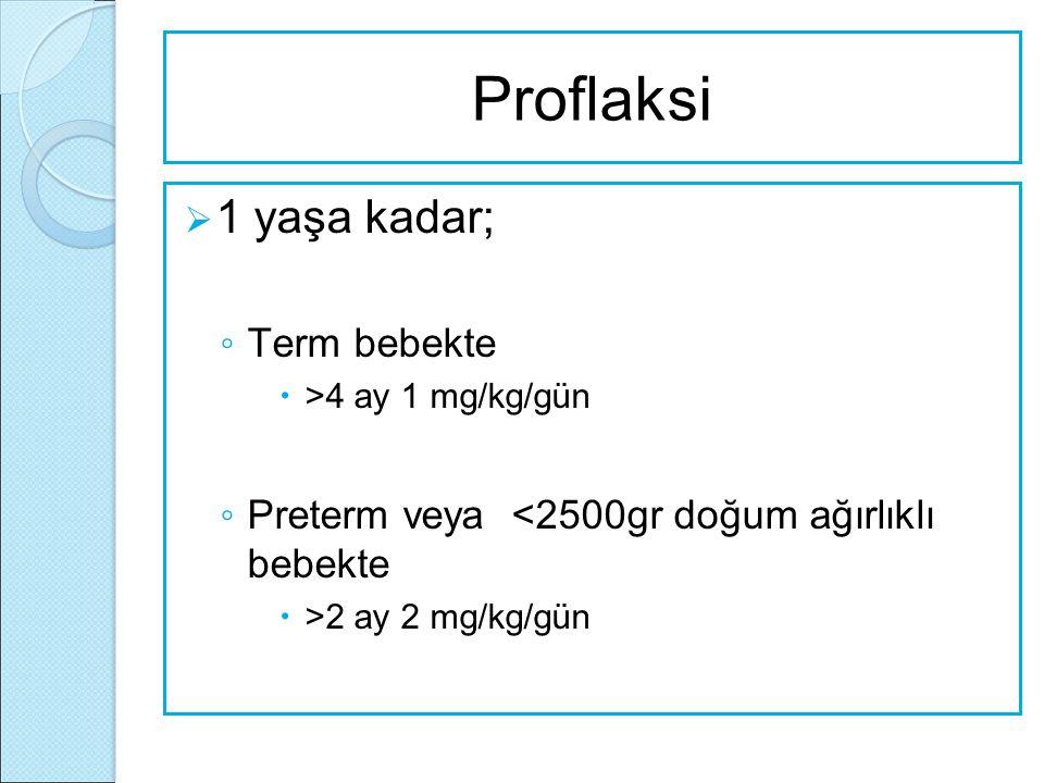 Proflaksi  1 yaşa kadar; ◦ Term bebekte  >4 ay 1 mg/kg/gün ◦ Preterm veya <2500gr doğum ağırlıklı bebekte  >2 ay 2 mg/kg/gün