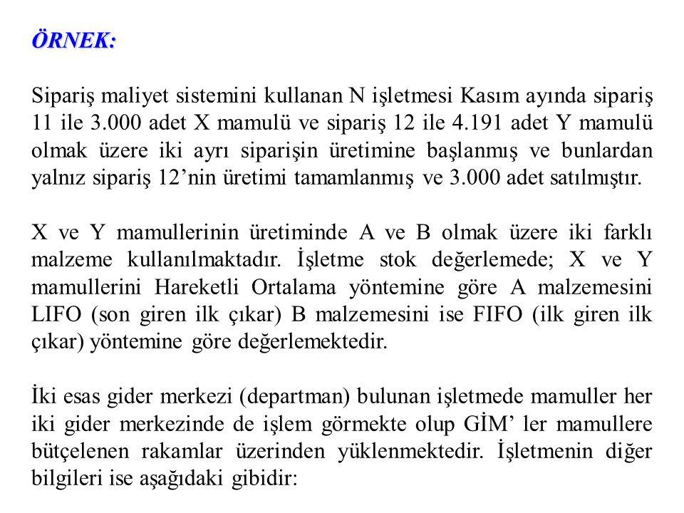 ÖRNEK: Sipariş maliyet sistemini kullanan N işletmesi Kasım ayında sipariş 11 ile 3.000 adet X mamulü ve sipariş 12 ile 4.191 adet Y mamulü olmak üzer