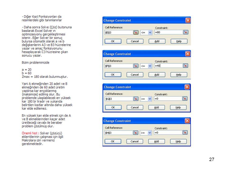 28 Excel ile DP Probleminin çözümü 2. Örnek BSM 28. Sayfa 3. Hafta