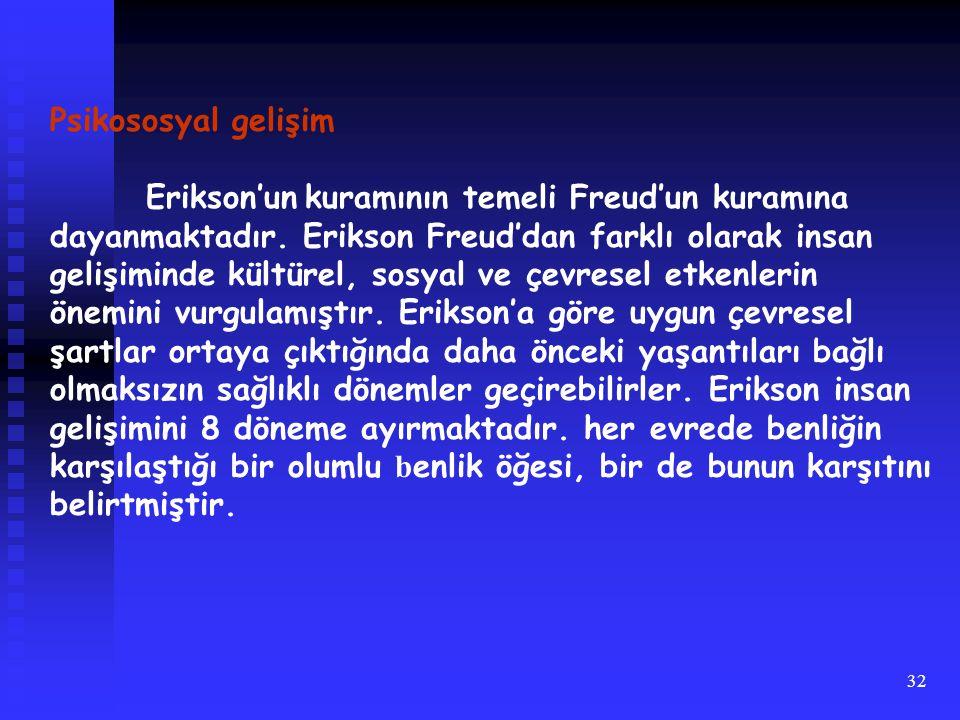 32 Psikososyal gelişim Erikson'un kuramının temeli Freud'un kuramına dayanmaktadır. Erikson Freud'dan farklı olarak insan gelişiminde kültürel, sosyal