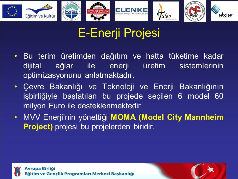 E-Enerji Projesi Bu terim üretimden dağıtım ve hatta tüketime kadar dijital ağlar ile enerji üretim sistemlerinin optimizasyonunu anlatmaktadır.