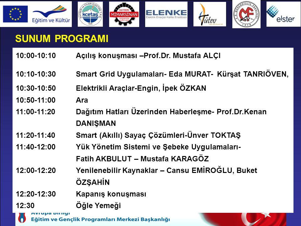 SUNUM PROGRAMI 10:00-10:10Açılış konuşması –Prof.Dr. Mustafa ALÇI 10:10-10:30 Smart Grid Uygulamaları- Eda MURAT- Kürşat TANRIÖVEN, 10:30-10:50Elektri