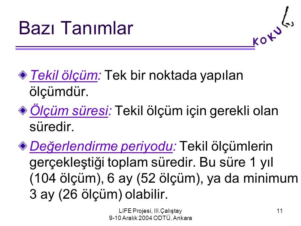 LIFE Projesi, III.Çalıştay 9-10 Aralık 2004 ODTÜ, Ankara 11 Bazı Tanımlar Tekil ölçüm: Tek bir noktada yapılan ölçümdür.