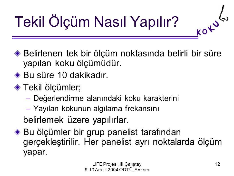 LIFE Projesi, III.Çalıştay 9-10 Aralık 2004 ODTÜ, Ankara 12 Tekil Ölçüm Nasıl Yapılır.