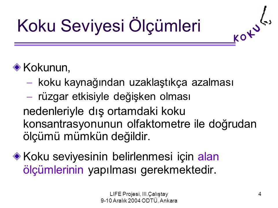 LIFE Projesi, III.Çalıştay 9-10 Aralık 2004 ODTÜ, Ankara 4 Koku Seviyesi Ölçümleri Kokunun,  koku kaynağından uzaklaştıkça azalması  rüzgar etkisiyle değişken olması nedenleriyle dış ortamdaki koku konsantrasyonunun olfaktometre ile doğrudan ölçümü mümkün değildir.