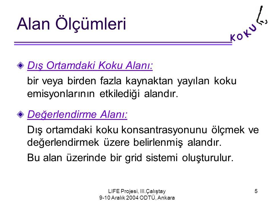 LIFE Projesi, III.Çalıştay 9-10 Aralık 2004 ODTÜ, Ankara 5 Alan Ölçümleri Dış Ortamdaki Koku Alanı: bir veya birden fazla kaynaktan yayılan koku emisyonlarının etkilediği alandır.