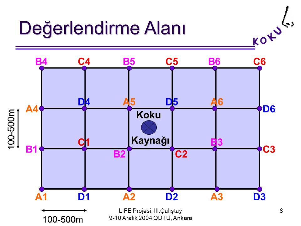LIFE Projesi, III.Çalıştay 9-10 Aralık 2004 ODTÜ, Ankara 8 Değerlendirme Alanı Koku KokuKaynağı A1 A4 A2 A5 A3 A6 B4 B1 B6B5 B3 B2 C4 C1 C3 C2 C5C6 D4 D1 D6 D5 D3D2 100-500m 100-500m