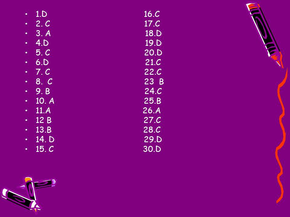 1.D 16.C 2. C 17.C 3. A 18.D 4.D 19.D 5. C 20.D 6.D 21.C 7. C 22.C 8. C 23 B 9. B 24.C 10. A 25.B 11.A 26.A 12 B 27.C 13.B 28.C 14. D 29.D 15. C 30.D