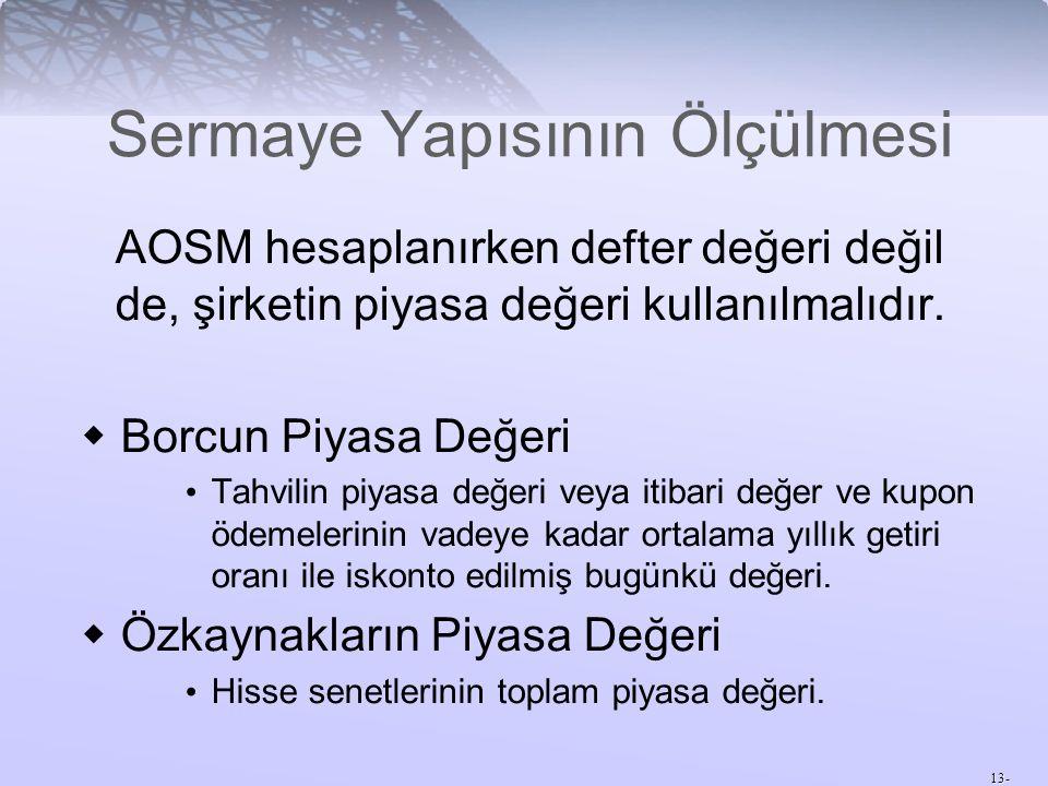 13- Sermaye Yapısının Ölçülmesi AOSM hesaplanırken defter değeri değil de, şirketin piyasa değeri kullanılmalıdır.