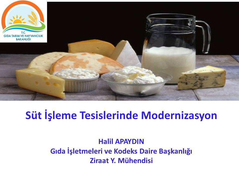 Süt İşleme Tesislerinde Modernizasyon Halil APAYDIN Gıda İşletmeleri ve Kodeks Daire Başkanlığı Ziraat Y.
