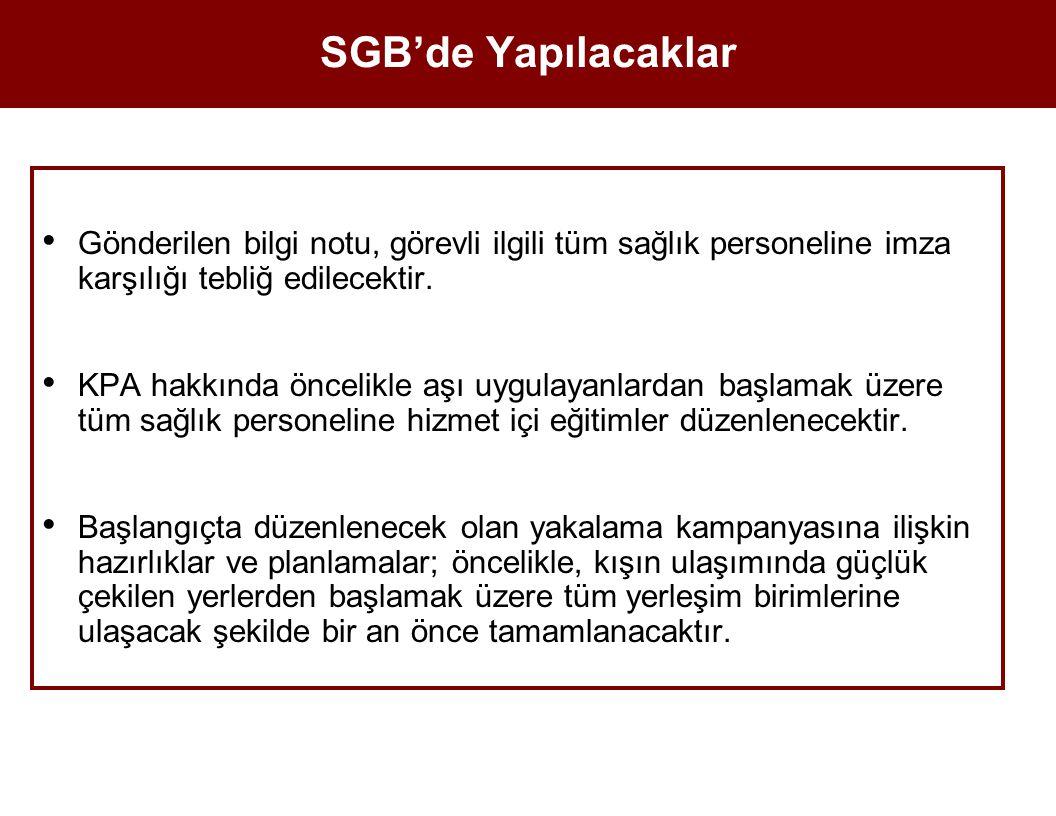 SGB'de Yapılacaklar Gönderilen bilgi notu, görevli ilgili tüm sağlık personeline imza karşılığı tebliğ edilecektir. KPA hakkında öncelikle aşı uygulay