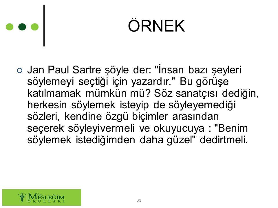 ÖRNEK ○ Jan Paul Sartre şöyle der: İnsan bazı şeyleri söylemeyi seçtiği için yazardır. Bu görüşe katılmamak mümkün mü.