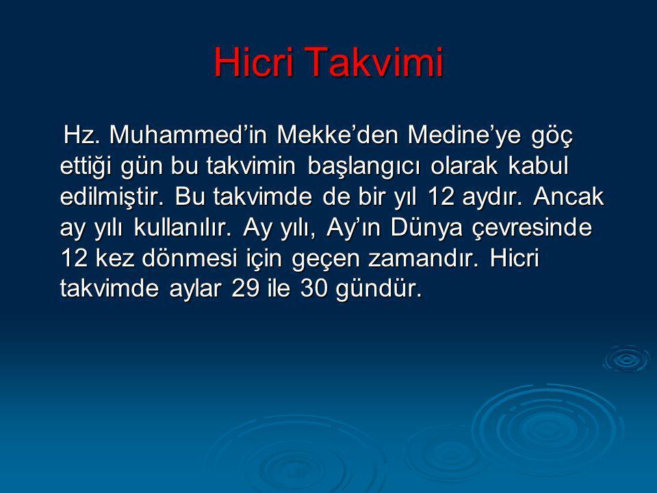Hicri Takvimi Hz. Muhammed'in Mekke'den Medine'ye göç ettiği gün bu takvimin başlangıcı olarak kabul edilmiştir. Bu takvimde de bir yıl 12 aydır. Anca