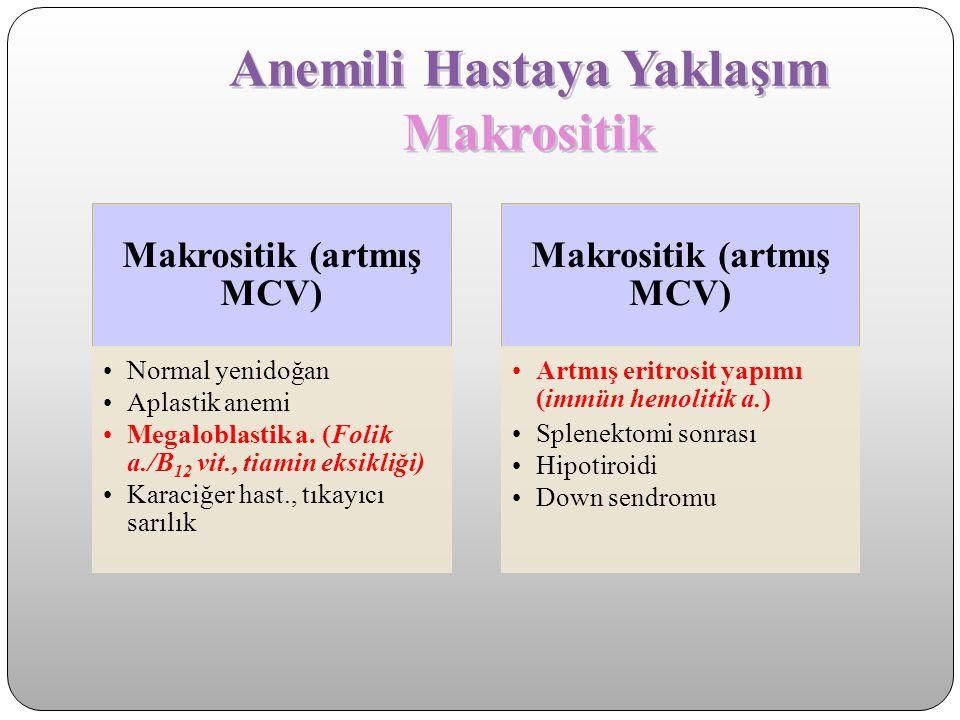 Anemili Hastaya Yaklaşım Makrositik Makrositik (artmış MCV) Normal yenidoğan Aplastik anemi Megaloblastik a. (Folik a./B 12 vit., tiamin eksikliği) Ka
