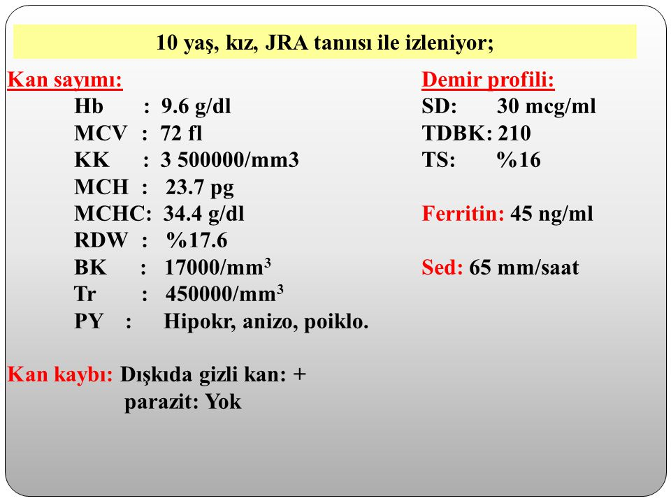 Kan sayımı: Hb : 9.6 g/dl MCV: 72 fl KK : 3 500000/mm3 MCH: 23.7 pg MCHC: 34.4 g/dl RDW: %17.6 BK : 17000/mm 3 Tr : 450000/mm 3 PY : Hipokr, anizo, po