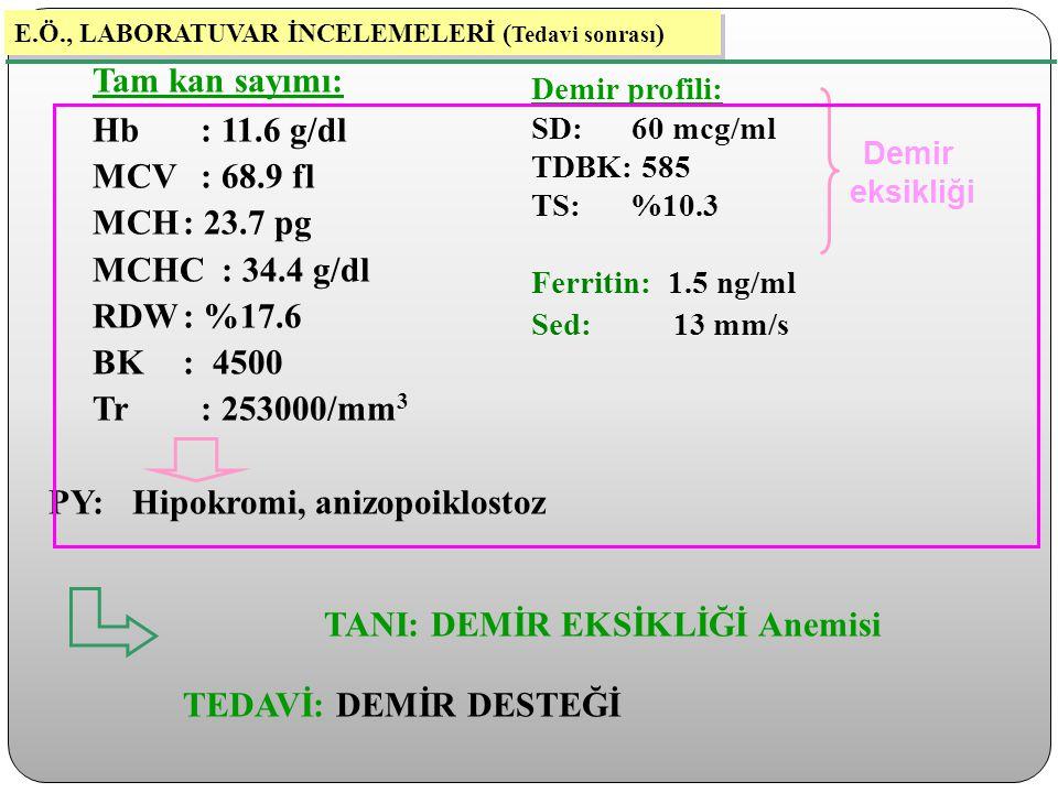 Tam kan sayımı: Hb : 11.6 g/dl MCV : 68.9 fl MCH: 23.7 pg MCHC : 34.4 g/dl RDW: %17.6 BK: 4500 Tr : 253000/mm 3 PY: Hipokromi, anizopoiklostoz TANI: D