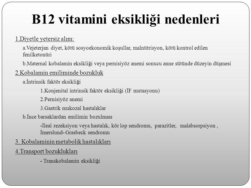 B12 vitamini eksikliği nedenleri 1.Diyetle yetersiz alım: a.Vejeterjan diyet, kötü sosyoekonomik koşullar, malnütrisyon, kötü kontrol edilen fenilketo
