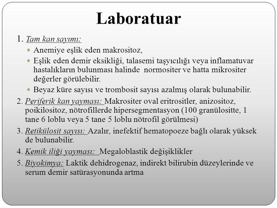 Laboratuar 1. Tam kan sayımı: Anemiye eşlik eden makrositoz, Eşlik eden demir eksikliği, talasemi taşyıcılığı veya inflamatuvar hastalıkların bulunmas