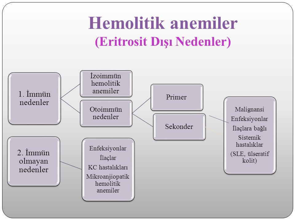Hemolitik anemiler (Eritrosit Dışı Nedenler) 1. İmmün nedenler İzoimmün hemolitik anemiler Otoimmün nedenler PrimerSekonder Malignansi Enfeksiyonlar İ