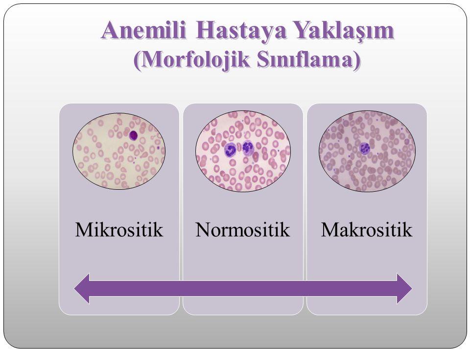 Anemili Hastaya Yaklaşım Hipokrom Mikrositik Hipokrom mikrositik (azalmış MCV) Demir eksikliği a.