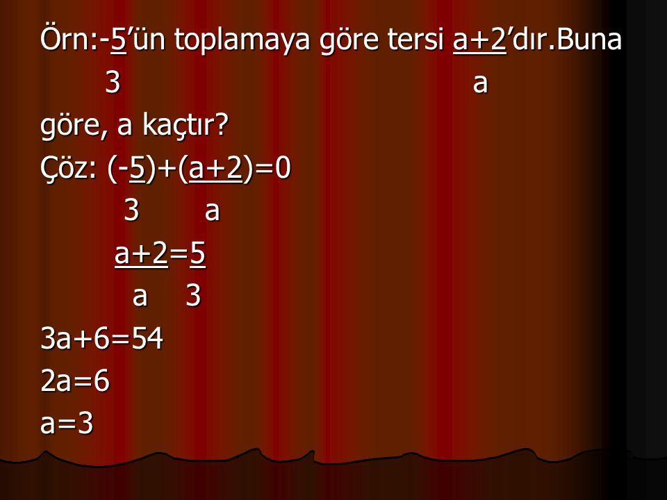 Örn:-5'ün toplamaya göre tersi a+2'dır.Buna 3 a 3 a göre, a kaçtır? Çöz: (-5)+(a+2)=0 3 a 3 a a+2=5 a+2=5 a 3 a 33a+6=542a=6a=3