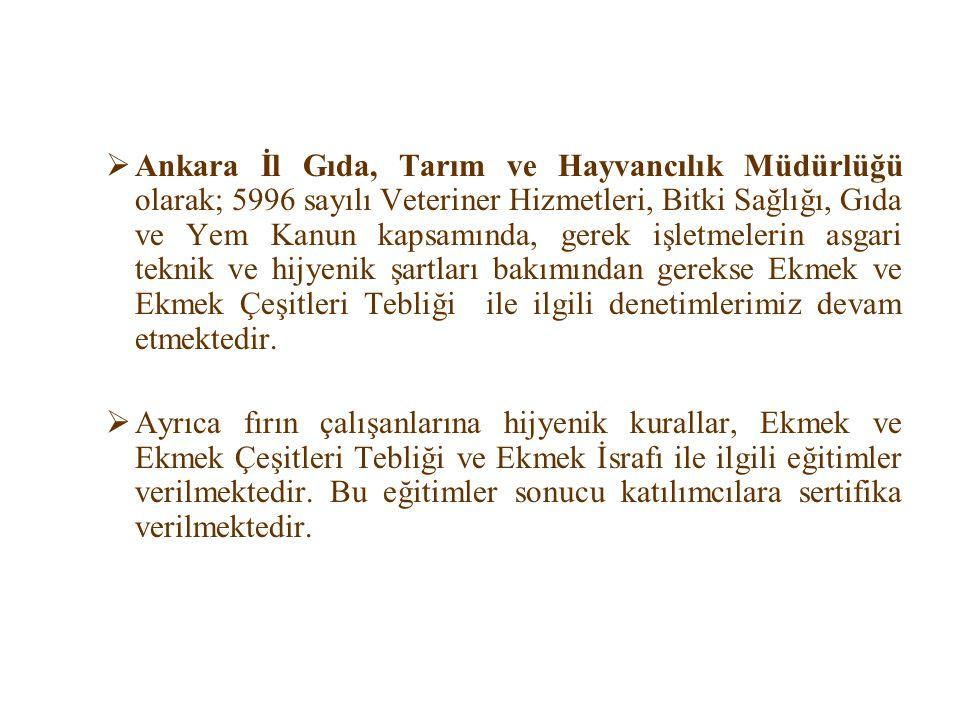  Ankara İl Gıda, Tarım ve Hayvancılık Müdürlüğü olarak; 5996 sayılı Veteriner Hizmetleri, Bitki Sağlığı, Gıda ve Yem Kanun kapsamında, gerek işletmel