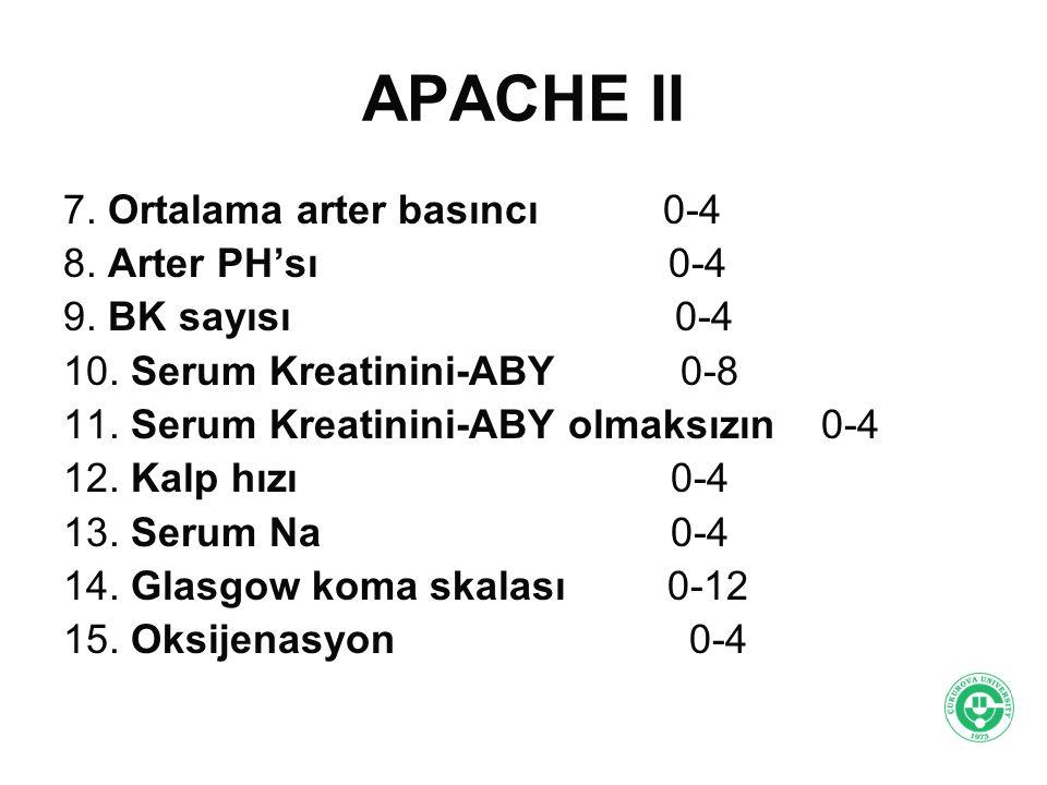 APACHE II 7. Ortalama arter basıncı 0-4 8. Arter PH'sı 0-4 9. BK sayısı 0-4 10. Serum Kreatinini-ABY 0-8 11. Serum Kreatinini-ABY olmaksızın 0-4 12. K
