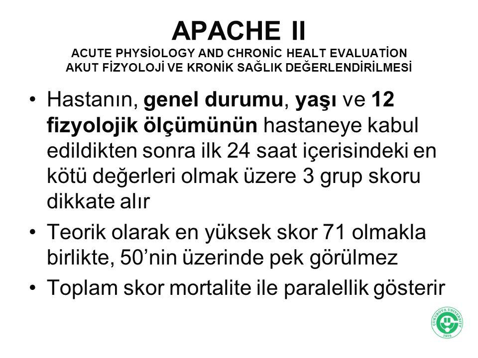 APACHE II 1.Vücut ısısı- o C 0-4 2.Solunum hızı- Soluk/dk 0-4 3.Arteryal Kan gazı veya SemHCO 3 - mmol/L 0-4 4.Serum potasyum 0-4 5.Hematokrit 0-4 6.Yaş 0-6