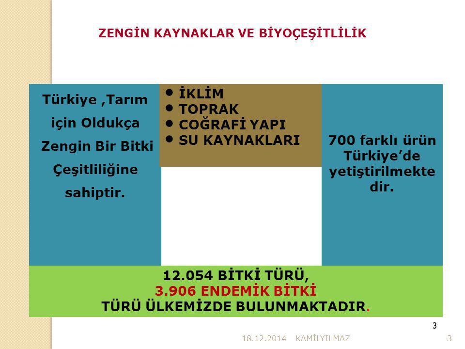 700 farklı ürün Türkiye'de yetiştirilmekte dir.
