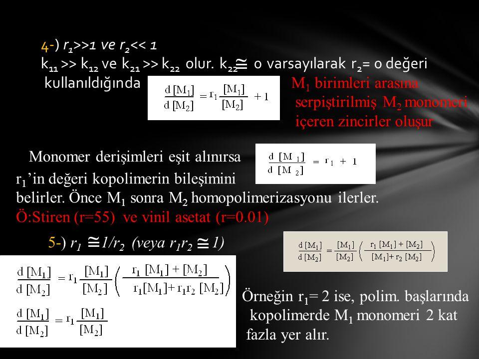 4-) r 1 >>1 ve r 2 << 1 k 11 >> k 12 ve k 21 >> k 22 olur. k 22 0 varsayılarak r 2 = 0 değeri kullanıldığında Monomer derişimleri eşit alınırsa M 1 bi