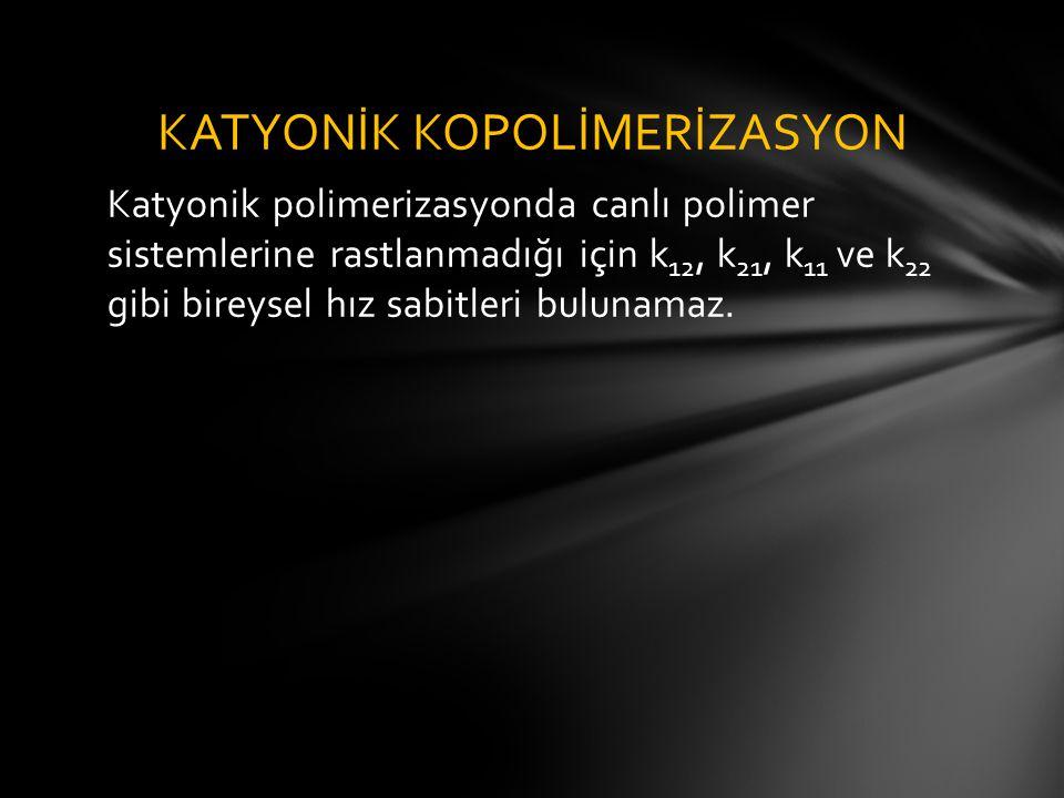 Katyonik polimerizasyonda canlı polimer sistemlerine rastlanmadığı için k 12, k 21, k 11 ve k 22 gibi bireysel hız sabitleri bulunamaz. KATYONİK KOPOL