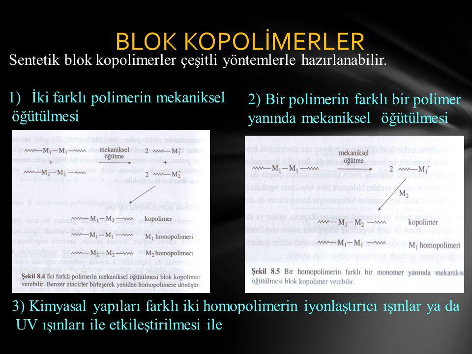 BLOK KOPOLİMERLER Sentetik blok kopolimerler çeşitli yöntemlerle hazırlanabilir.