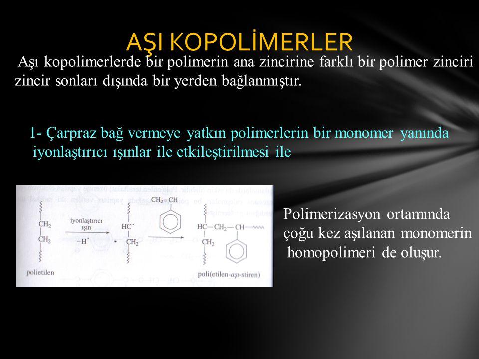 AŞI KOPOLİMERLER Aşı kopolimerlerde bir polimerin ana zincirine farklı bir polimer zinciri zincir sonları dışında bir yerden bağlanmıştır.