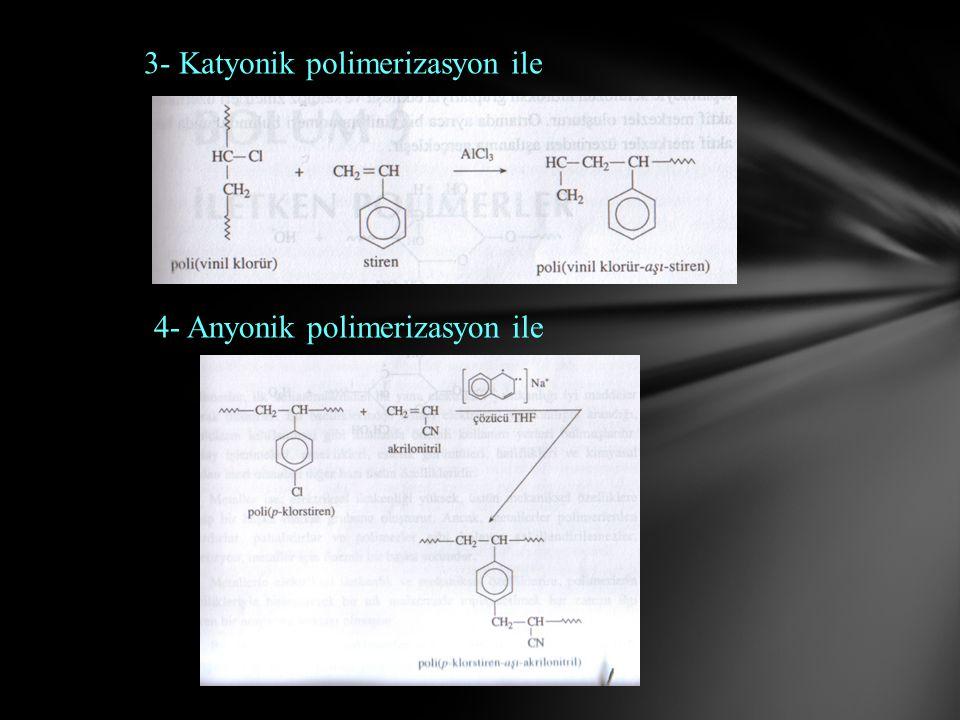 3- Katyonik polimerizasyon ile 4- Anyonik polimerizasyon ile
