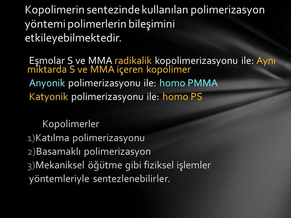 Eşmolar S ve MMA radikalik kopolimerizasyonu ile: Aynı miktarda S ve MMA içeren kopolimer Anyonik polimerizasyonu ile: homo PMMA Katyonik polimerizasyonu ile: homo PS Kopolimerler 1)Katılma polimerizasyonu 2)Basamaklı polimerizasyon 3)Mekaniksel öğütme gibi fiziksel işlemler yöntemleriyle sentezlenebilirler.