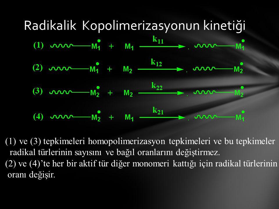 Radikalik Kopolimerizasyonun kinetiği (1)ve (3) tepkimeleri homopolimerizasyon tepkimeleri ve bu tepkimeler radikal türlerinin sayısını ve bağıl oranlarını değiştirmez.