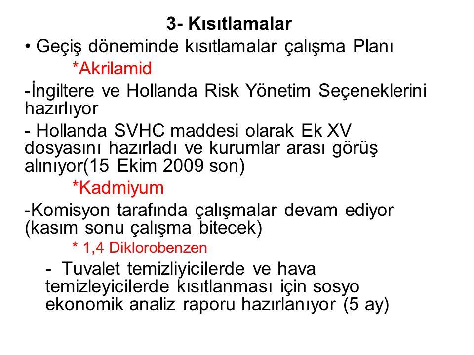 3- Kısıtlamalar Geçiş döneminde kısıtlamalar çalışma Planı *Akrilamid -İngiltere ve Hollanda Risk Yönetim Seçeneklerini hazırlıyor - Hollanda SVHC maddesi olarak Ek XV dosyasını hazırladı ve kurumlar arası görüş alınıyor(15 Ekim 2009 son) *Kadmiyum -Komisyon tarafında çalışmalar devam ediyor (kasım sonu çalışma bitecek) * 1,4 Diklorobenzen - Tuvalet temizliyicilerde ve hava temizleyicilerde kısıtlanması için sosyo ekonomik analiz raporu hazırlanıyor (5 ay)