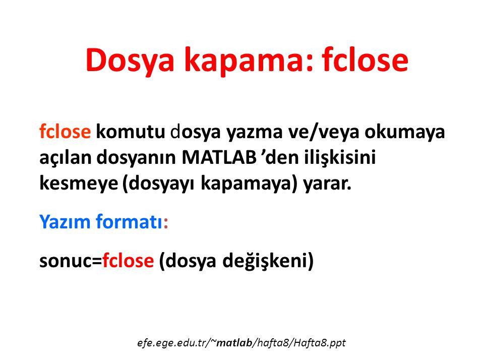 Dosya kapama: fclose fclose komutu dosya yazma ve/veya okumaya açılan dosyanın MATLAB 'den ilişkisini kesmeye (dosyayı kapamaya) yarar.