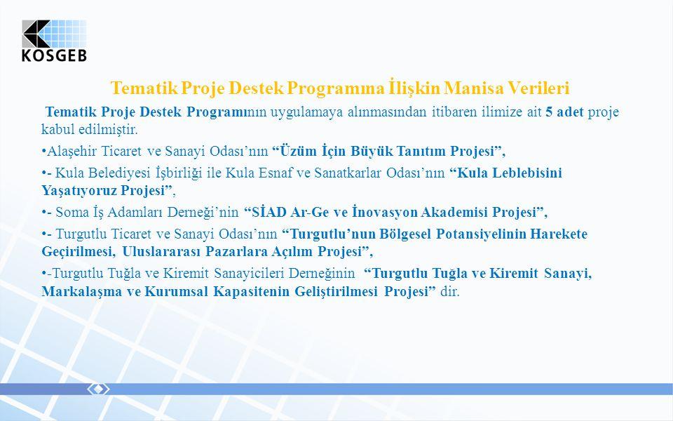 Tematik Proje Destek Programına İlişkin Manisa Verileri Tematik Proje Destek Programının uygulamaya alınmasından itibaren ilimize ait 5 adet proje kabul edilmiştir.