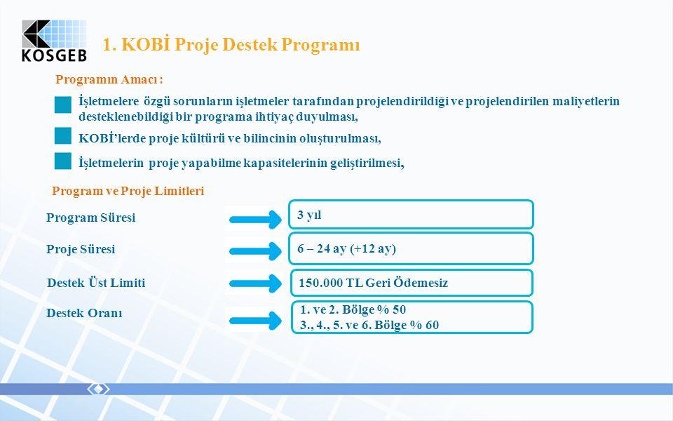 1. KOBİ Proje Destek Programı Programın Amacı : İşletmelere özgü sorunların işletmeler tarafından projelendirildiği ve projelendirilen maliyetlerin de