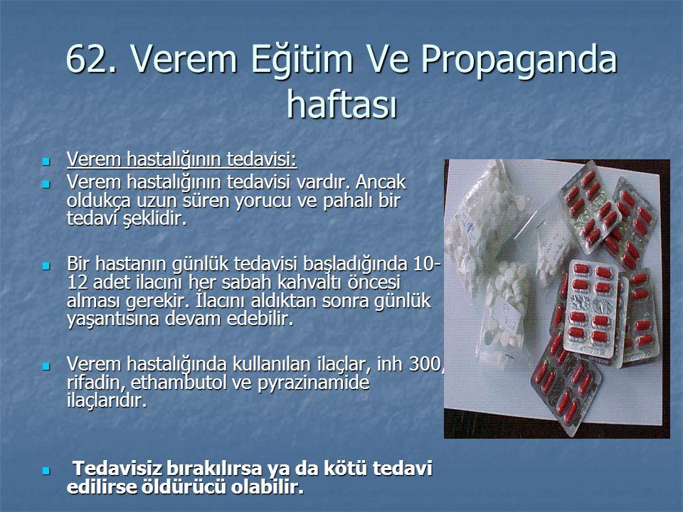 62. Verem Eğitim Ve Propaganda haftası Verem hastalığının tedavisi: Verem hastalığının tedavisi: Verem hastalığının tedavisi vardır. Ancak oldukça uzu