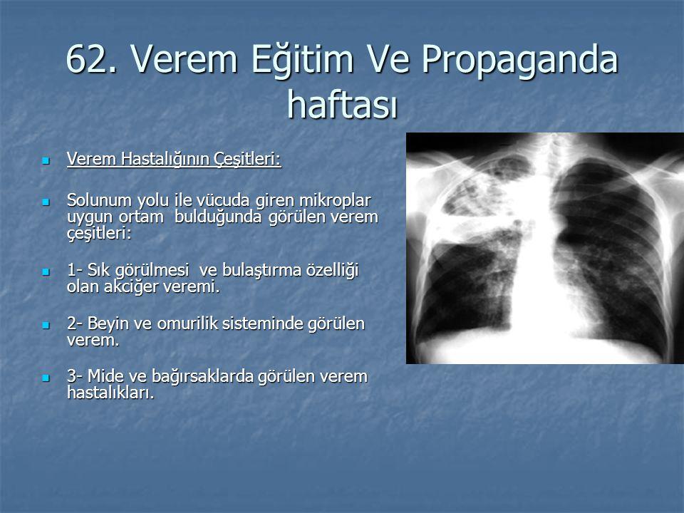 62. Verem Eğitim Ve Propaganda haftası Verem Hastalığının Çeşitleri: Verem Hastalığının Çeşitleri: Solunum yolu ile vücuda giren mikroplar uygun ortam