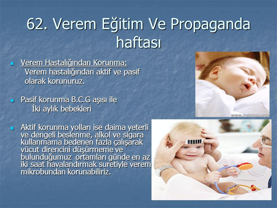 62. Verem Eğitim Ve Propaganda haftası Verem Hastalığından Korunma: Verem Hastalığından Korunma: Verem hastalığından aktif ve pasif Verem hastalığında