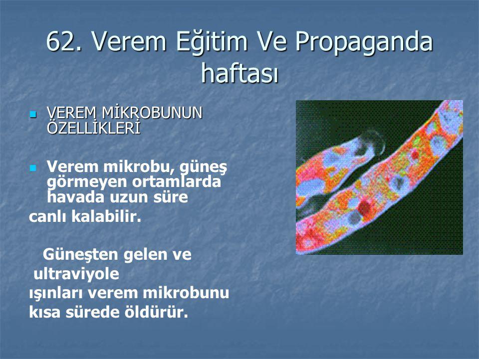 62. Verem Eğitim Ve Propaganda haftası VEREM MİKROBUNUN ÖZELLİKLERİ VEREM MİKROBUNUN ÖZELLİKLERİ Verem mikrobu, güneş görmeyen ortamlarda havada uzun