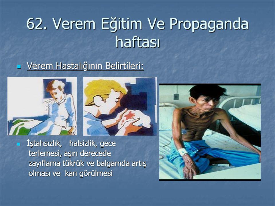 62. Verem Eğitim Ve Propaganda haftası Verem Hastalığının Belirtileri: Verem Hastalığının Belirtileri: İştahsızlık, halsizlik, gece İştahsızlık, halsi