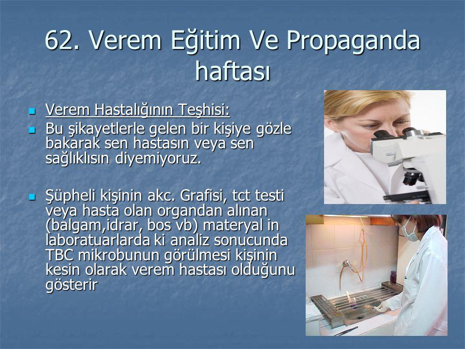 62. Verem Eğitim Ve Propaganda haftası Verem Hastalığının Teşhisi: Verem Hastalığının Teşhisi: Bu şikayetlerle gelen bir kişiye gözle bakarak sen hast